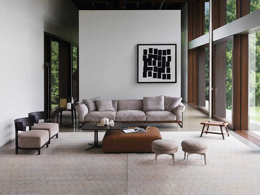a contemporary living room with flexform furniture design by the best online interior designers esperiri milano