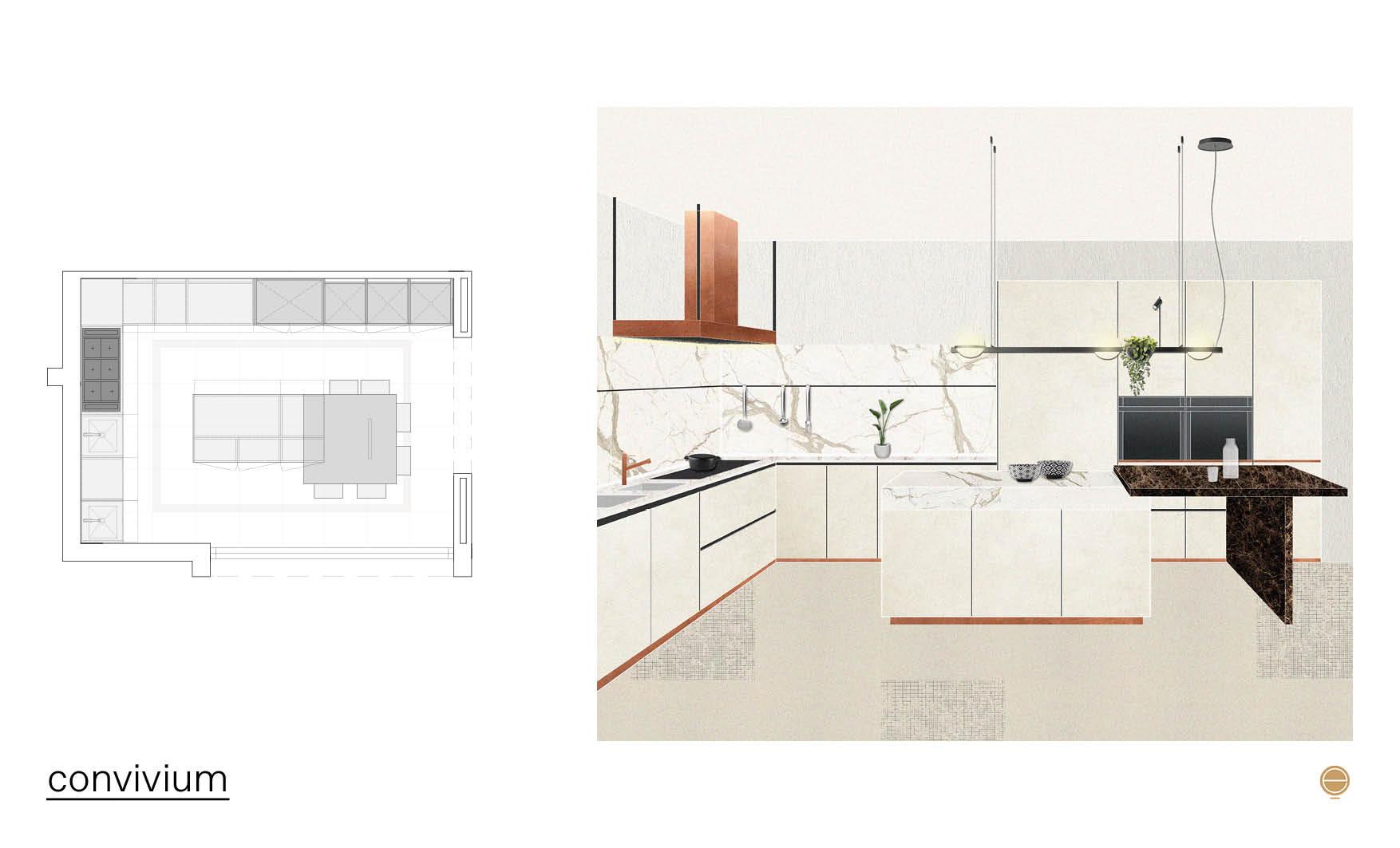 contemporary Italian kitchen design and arclinea convivium composition
