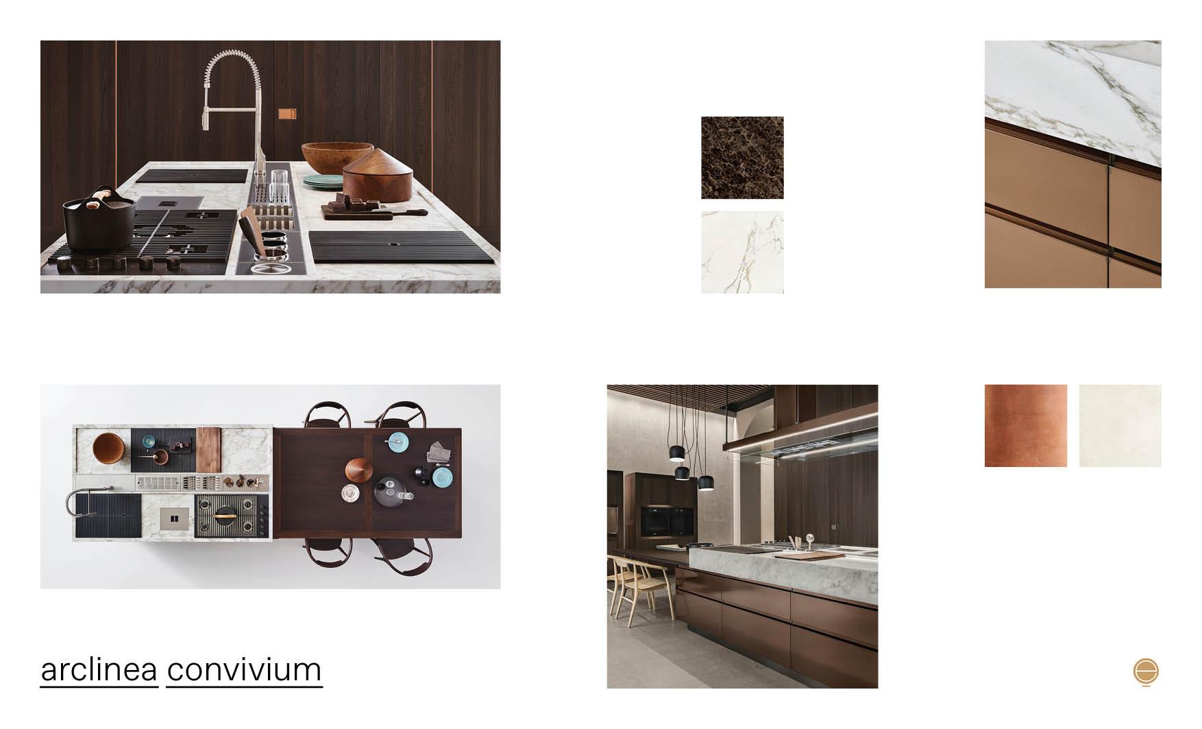 contemporary Italian kitchen design and arclinea convivium product
