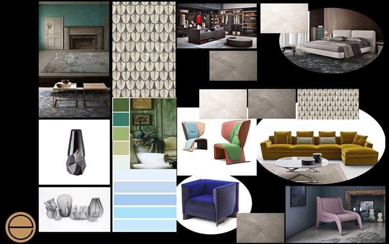 an interior design project concept board used by esperiri milano during a project when Italian interior designers are hired online
