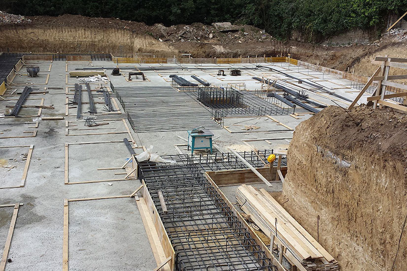 foundations construction of a modern Italian villa for a project where the client hire interior designer online
