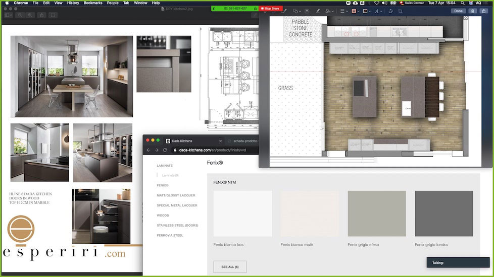 live screen sharing session of esperiri milano team to show how to hire interior designer online