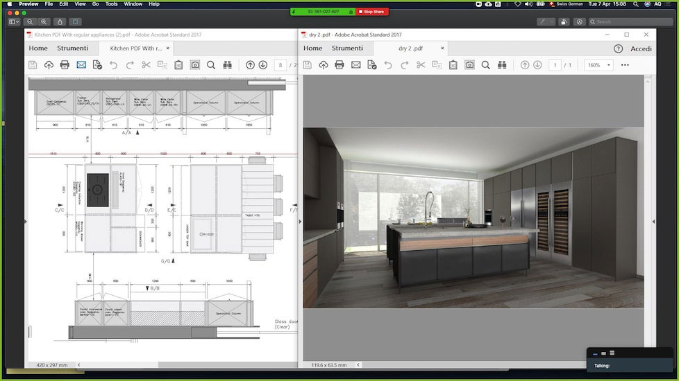 esperiri milano technical drawings and 3d render of an Italian kitchen design used by our Italian interior designers online to display the project remotely