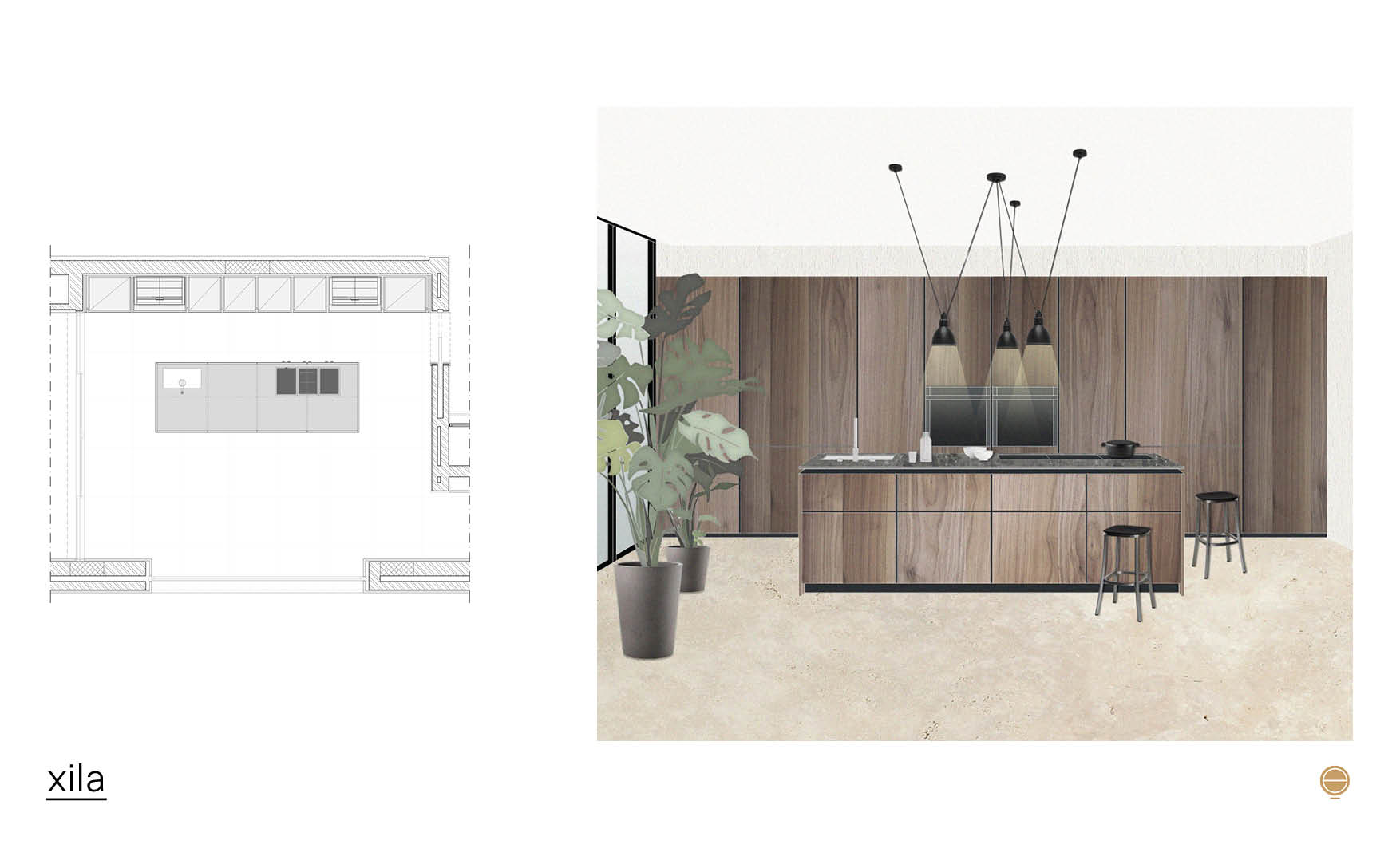 modern Italian kitchen design and boffi xila composition