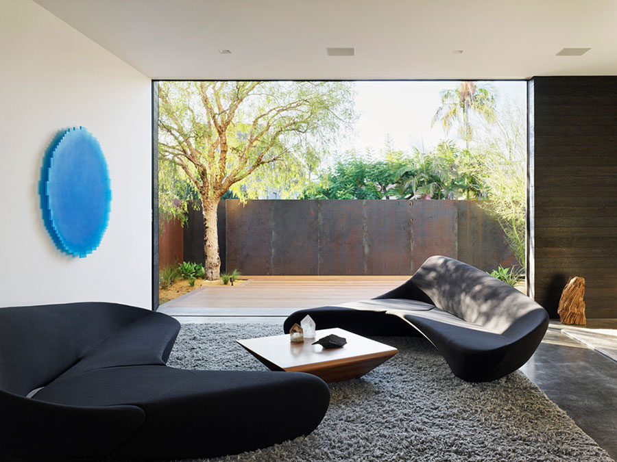 moon sofa by B&B italia in a modern living room designed by one of the top interior design firms in los angeles