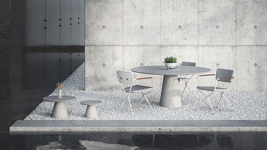 conix outdoor dining table by royal botania