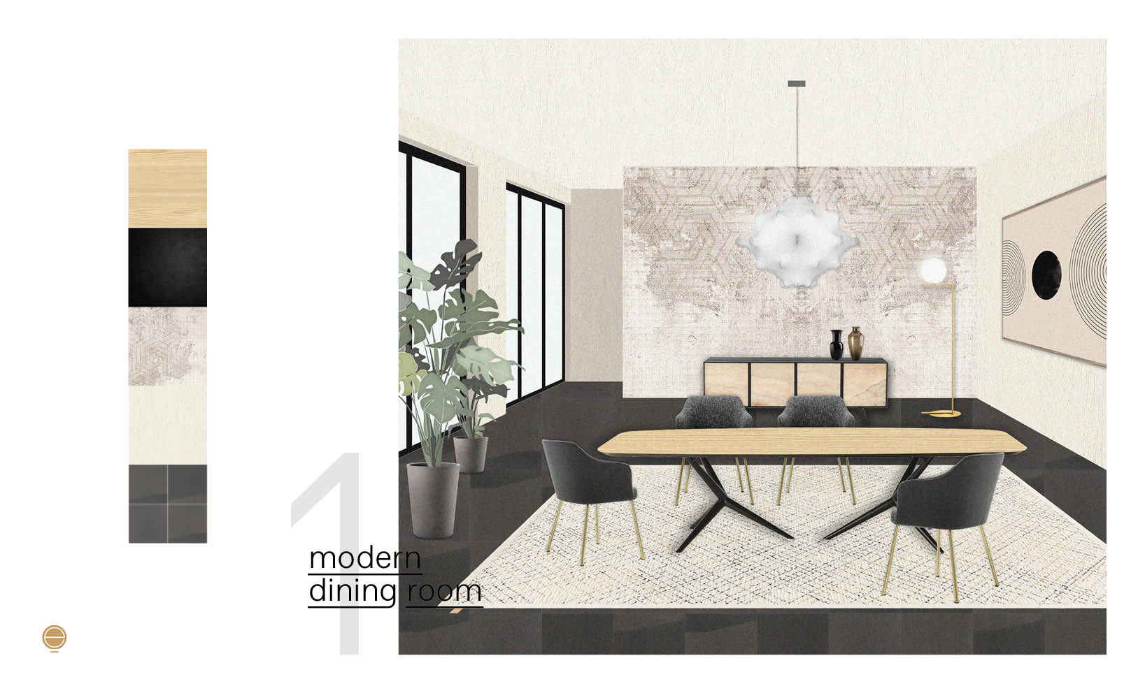 contemporary Italian dining room set composition with contrast colors