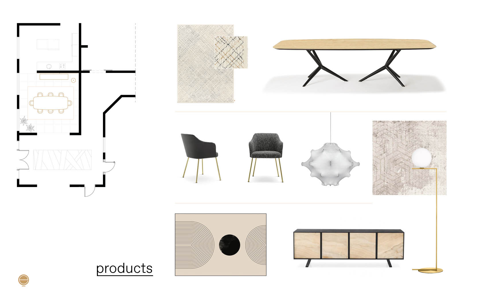 contemporary Italian dining room set products moodboard