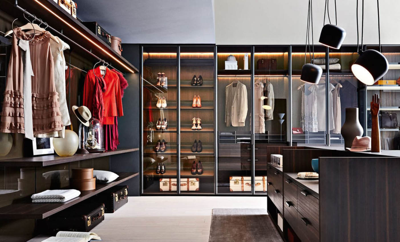 Composition of wardrobes and wall units are two interior design steps of the project of interior spaces