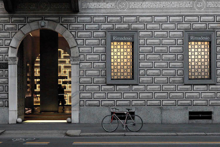 exterior of an italian furniture store in milano
