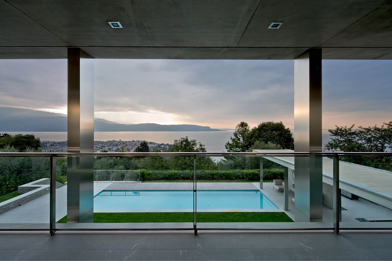 high end residentla refurbishment contractors work of a modern villa facing the lake