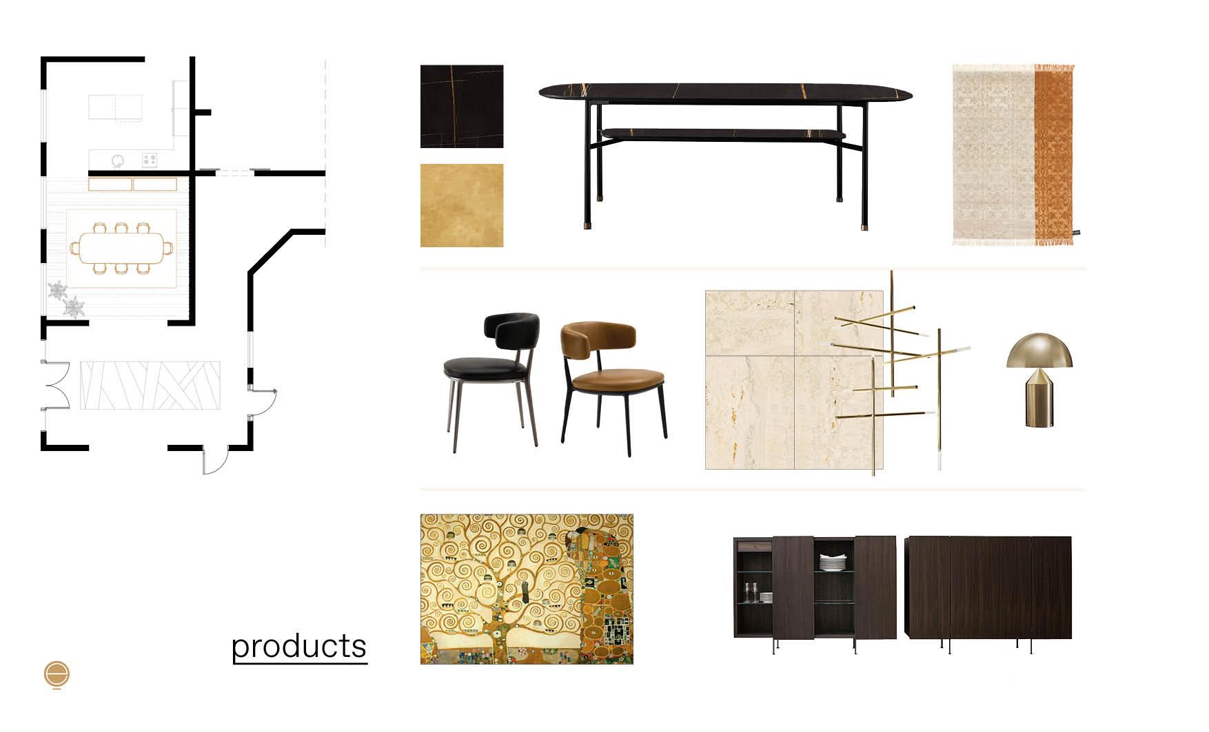 products moodboard of modern Italian dining room set made by Esperiri
