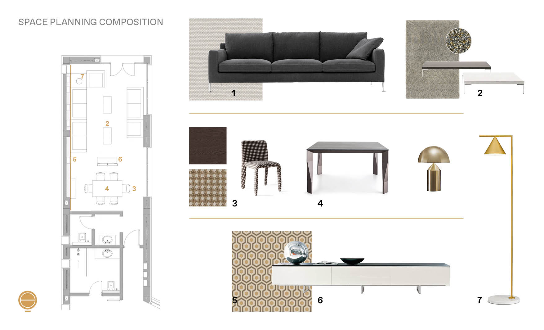 Moodboard and composition of materials and products during the interior design steps