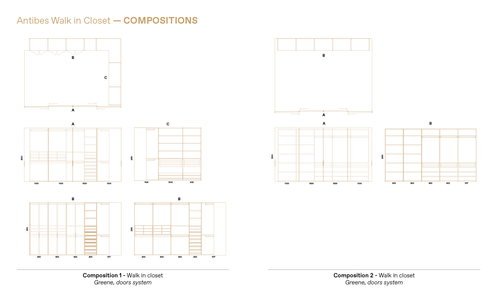 you can create a lot of different Boffi walk in closet compositions