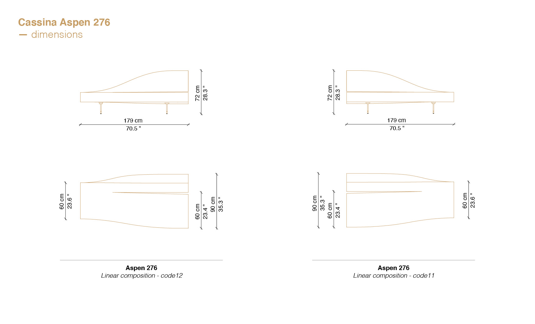 Aspen sofa dimensions