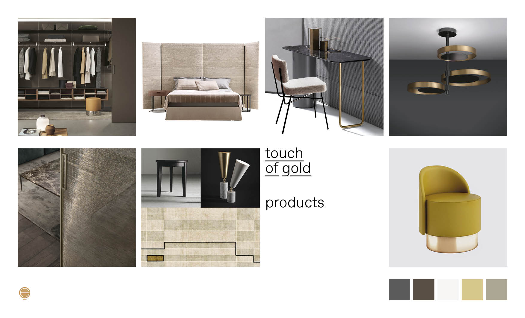 Italian modern bedroom furniture composition with gold and precious details