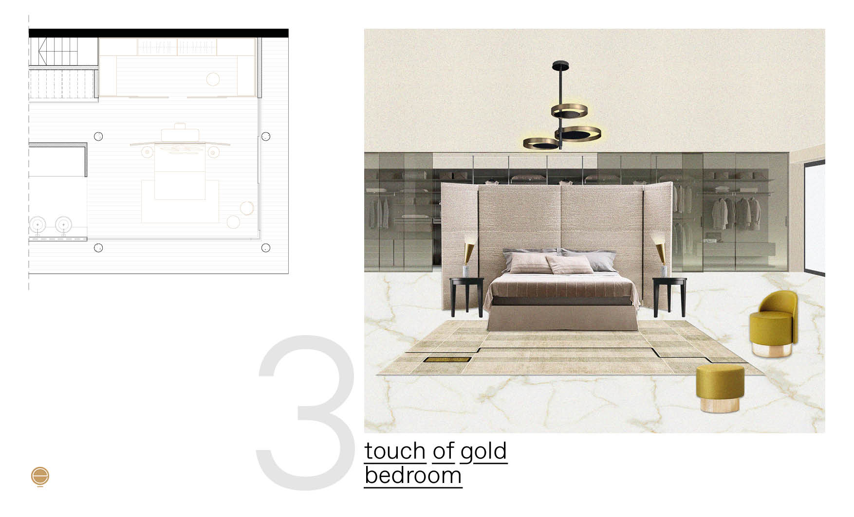 modern Italian bedroom design composition with gold details designed by Esperiri Milano
