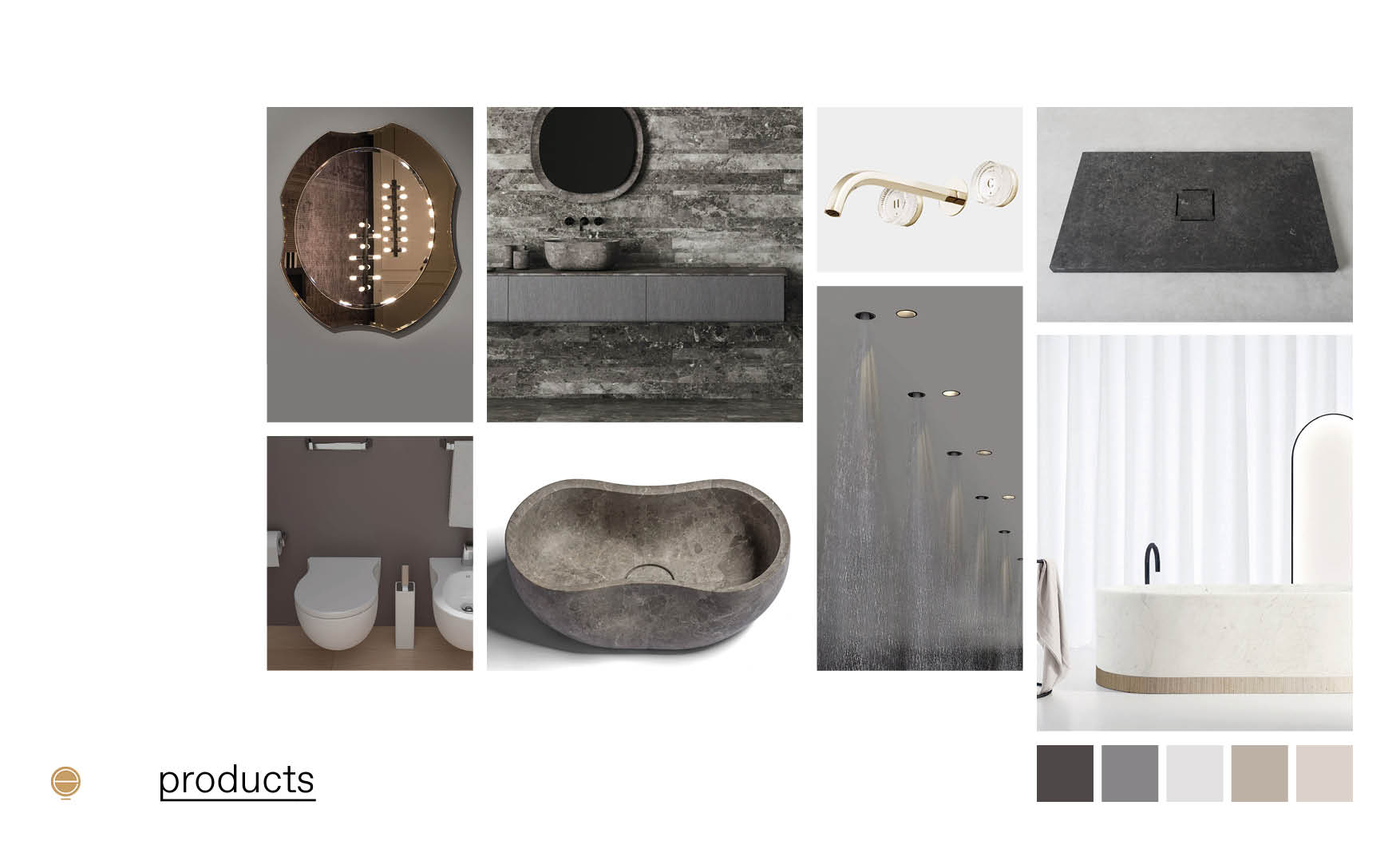 products composition of luxury Italian bathrooms made by Esperiri