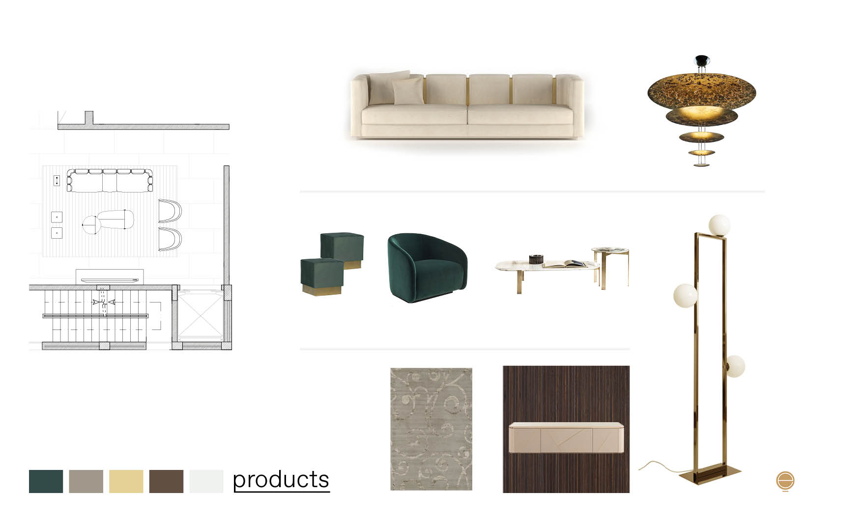 elegant luxury living room furniture products composition made by Esperiri