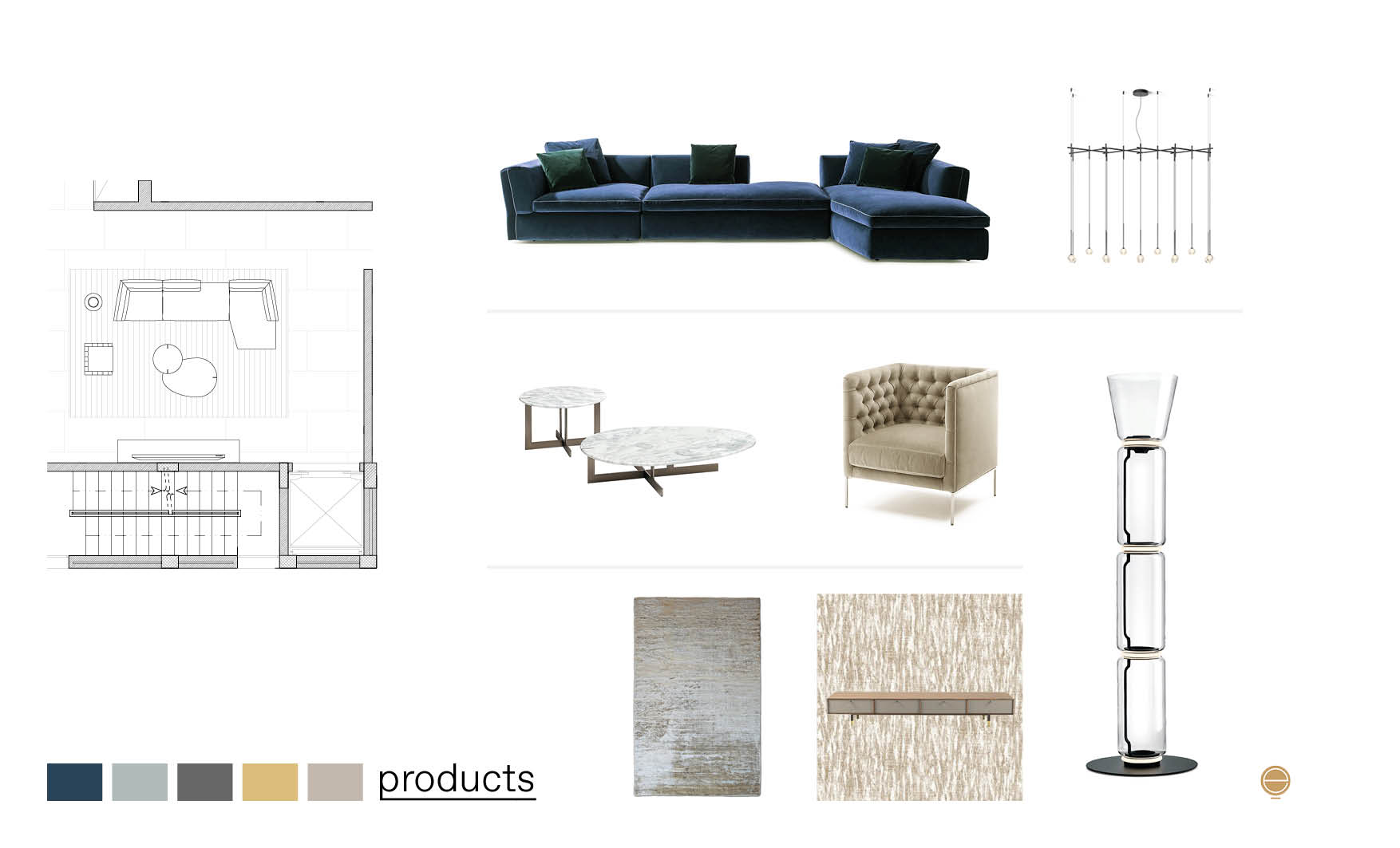 products moodboard of luxury Italian living room furniture made by Esperiri
