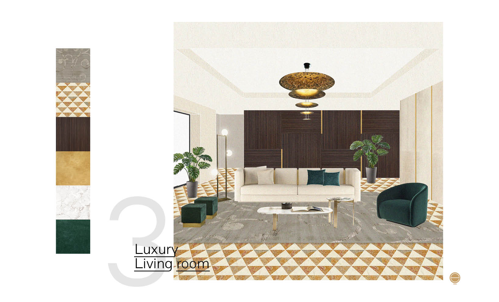 view of elegant luxury living room furniture composition designed by Esperiri