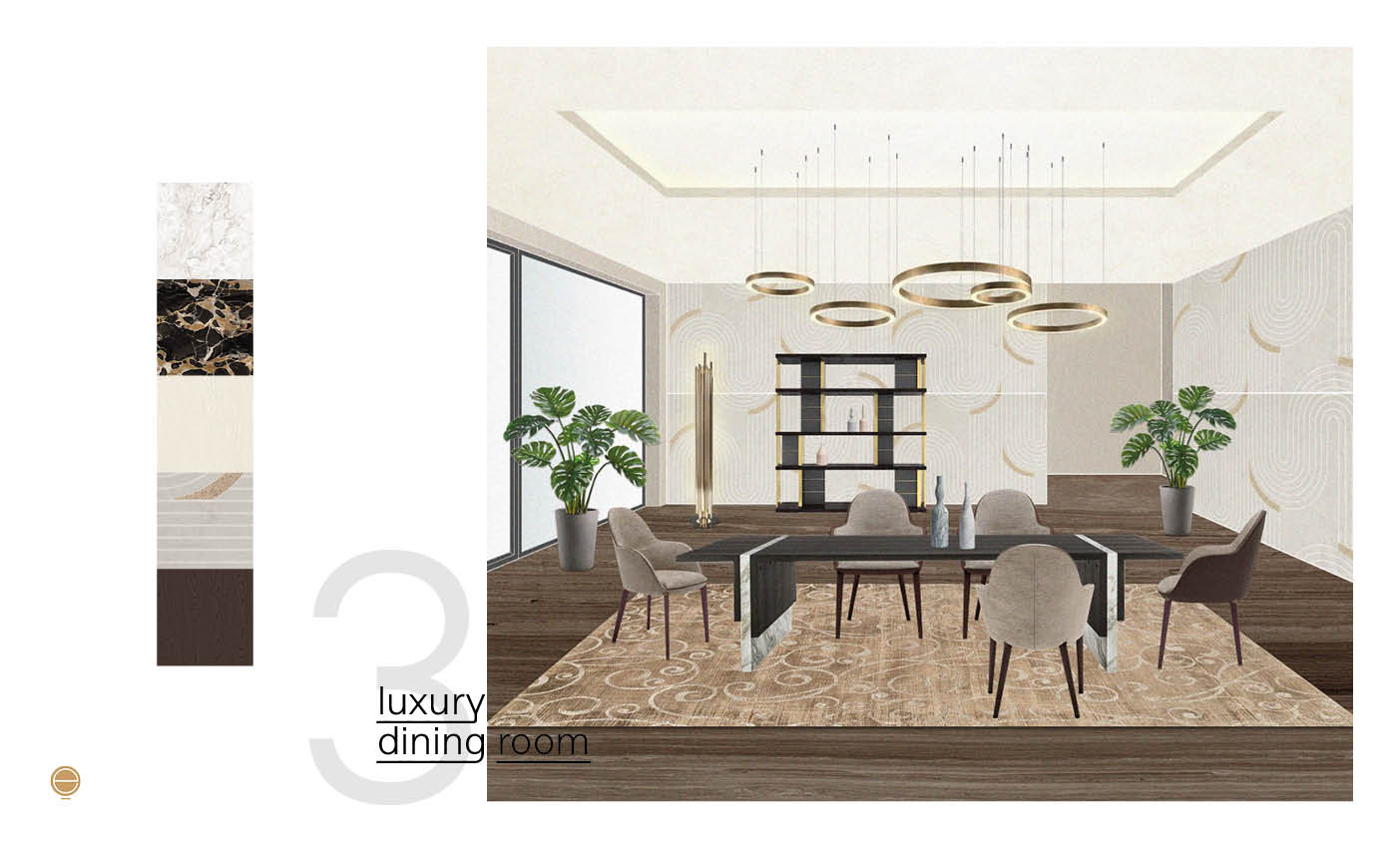 elegant and luxury dining room design made by Esperiri Milano