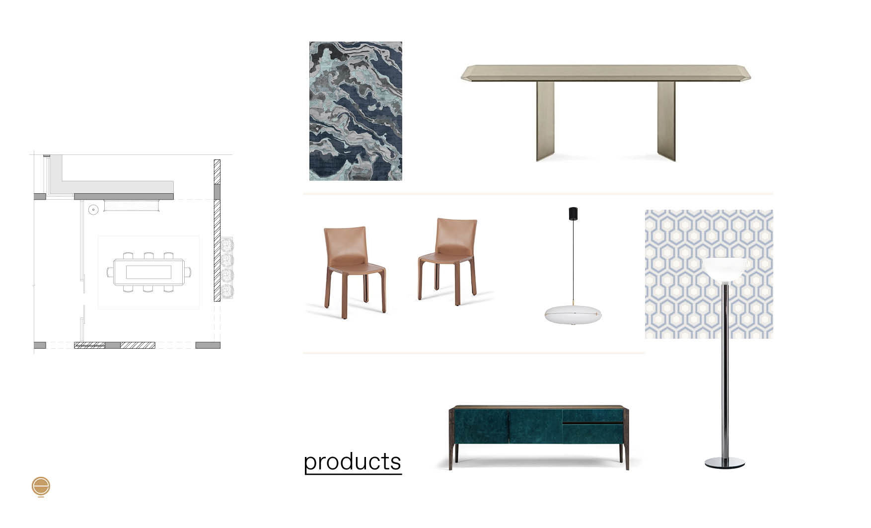 products moodboard of luxury dining room furniture made by Esperiri