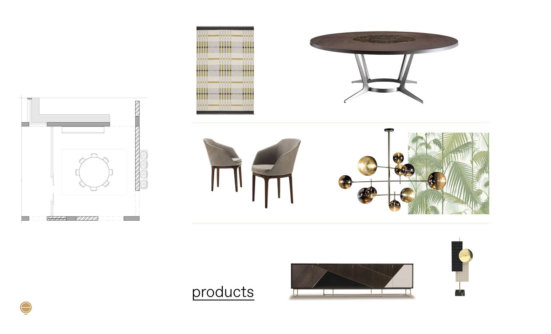 luxury dining room furniture composition made by Esperiri