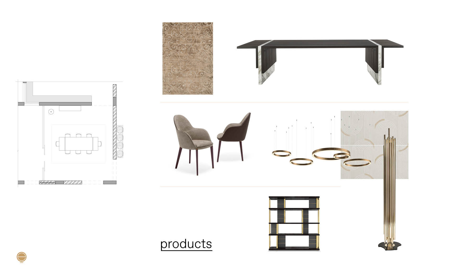 luxury dining room furniture moodboad and high end products composition made by Esperiri