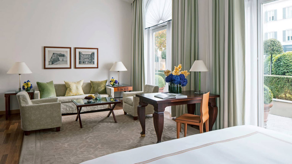 best hotels Milano and Four Seasons Hotel modern interiors with strong lines and green colour