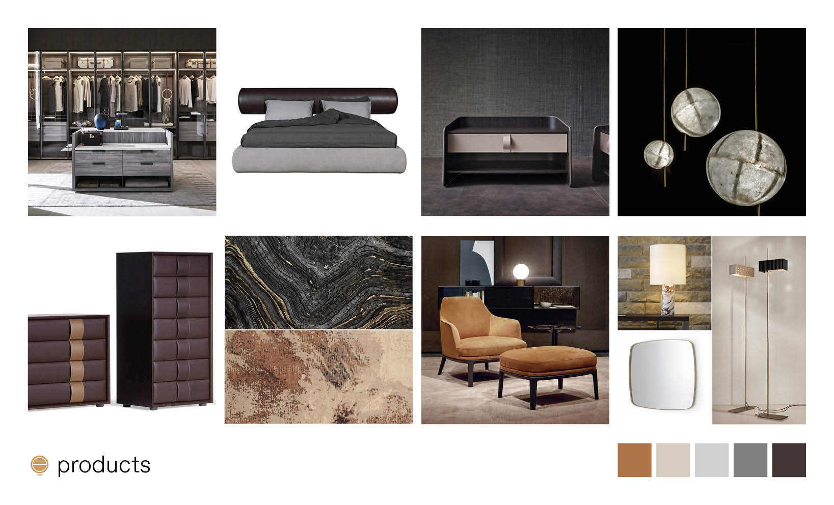 luxury Italian bedroom furniture moodboad and high end products composition made by Esperiri