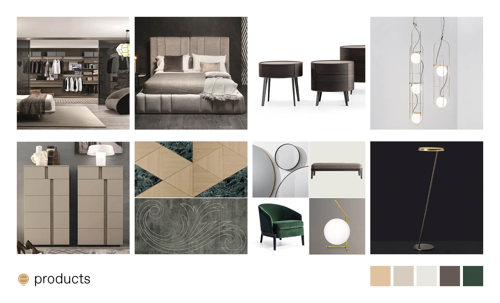 products moodboard of luxury Italian bedroom furniture made by Esperiri