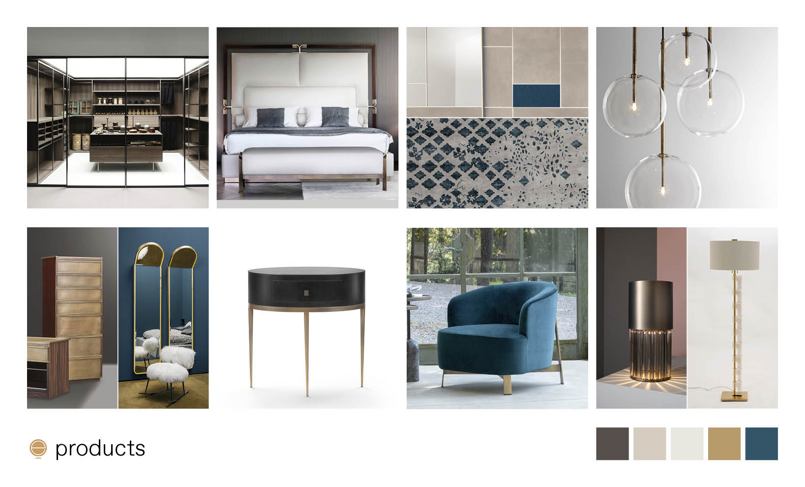 luxury Italian bedroom furniture composition made by Esperiri