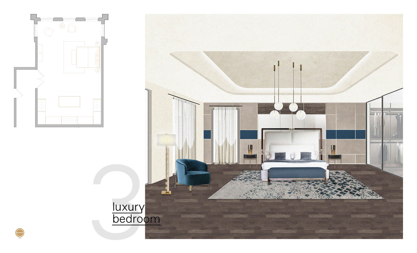 luxury modern bedroom design composition with blue details designed by Esperiri Milano