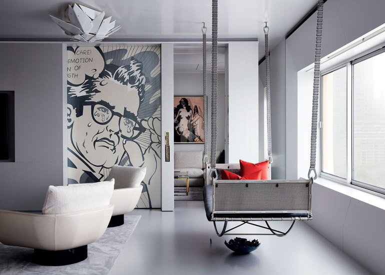 D'aquino Monaco one of the top nyc interior designers create a Gallery Home Hybryd for two art collectors in New York