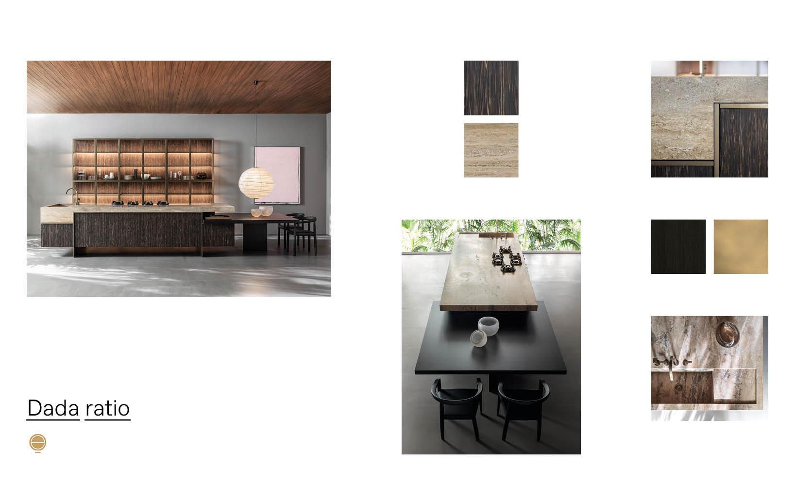 luxury Italian kitchens design and dada ratio product sheet made by Esperiri