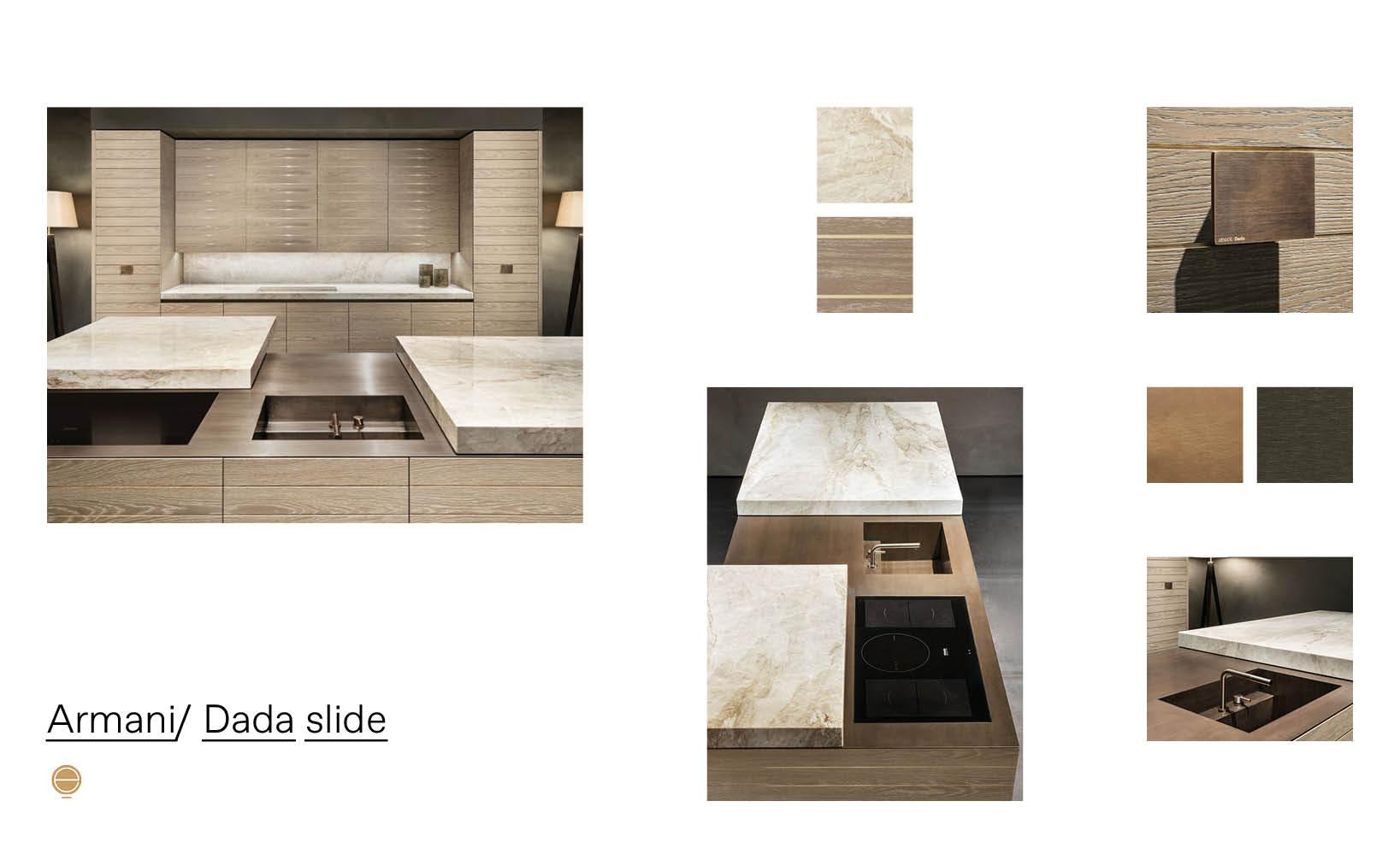 Armani Dada Slide luxury modular kitchen moodboard designed by Esperiri