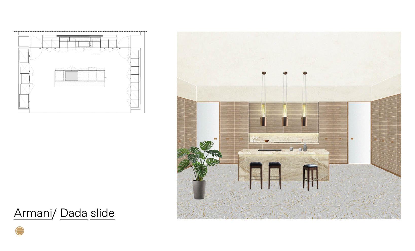 Armani Dada Slide luxury modular kitchen project inspiration designed by Esperiri