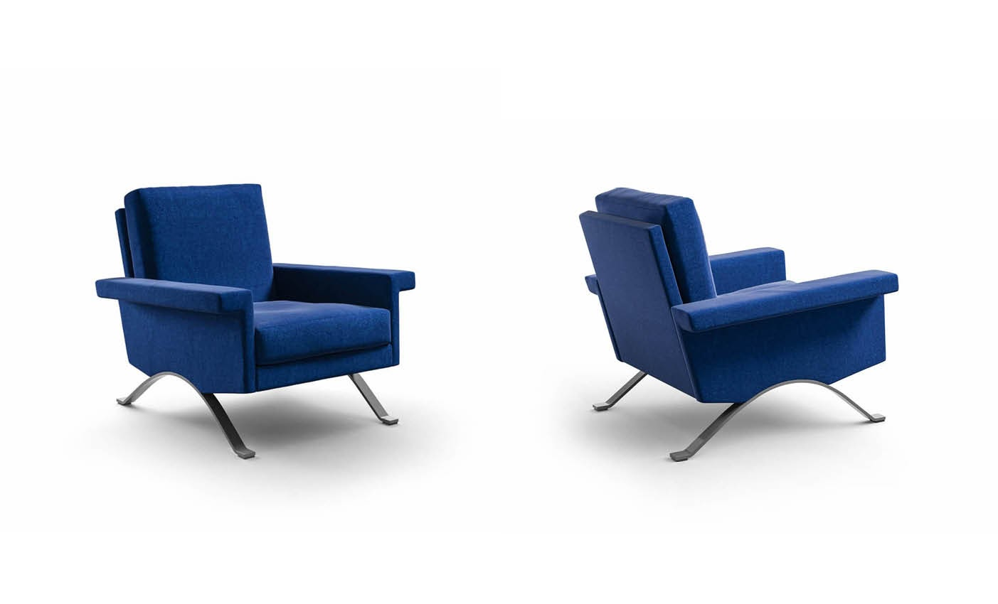 new 875 blue armchair by cassina presented during milan design week 2020