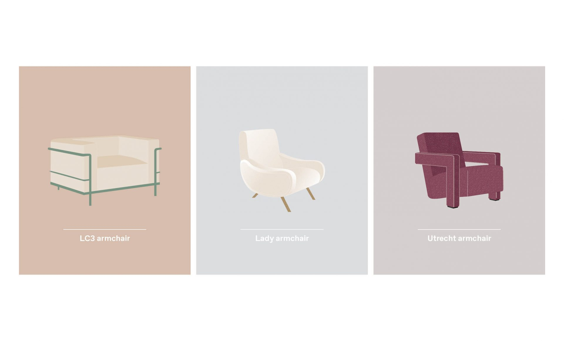 LC3 Lady and Utrecht Cassina armchairs design