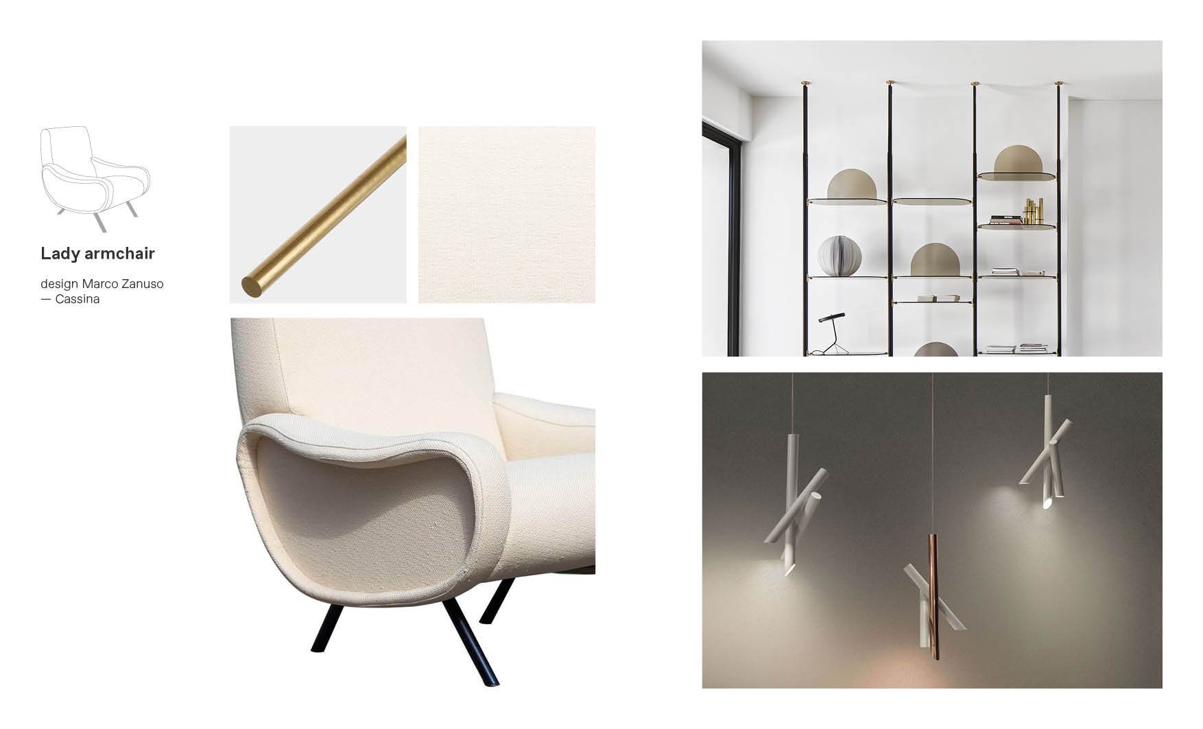 Lady Cassina armchair moodboard composition