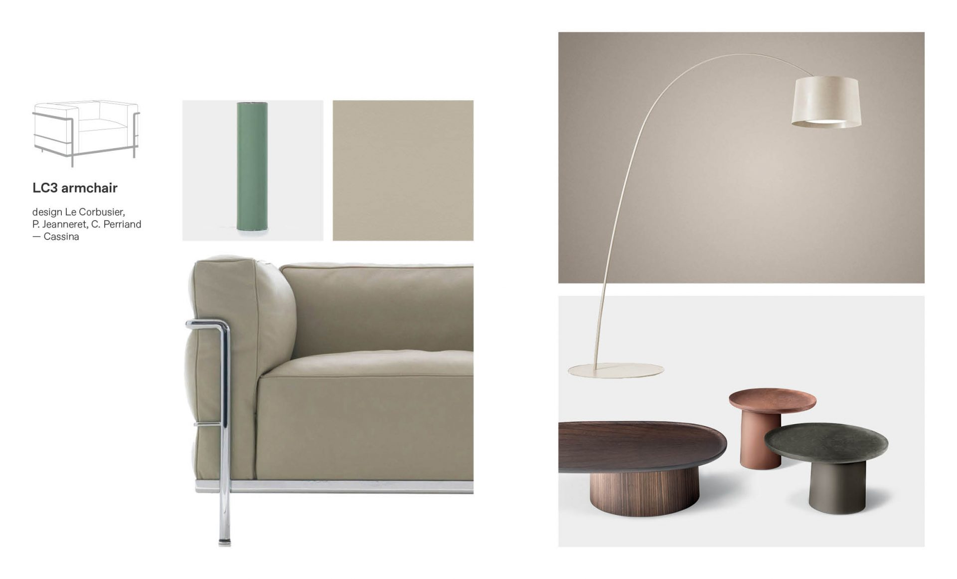 LC3 Cassina armchair moodboard composition