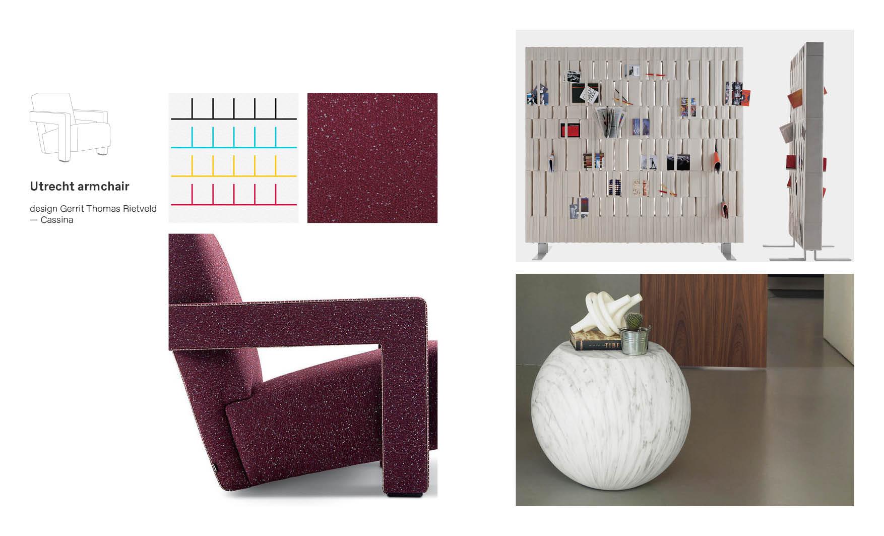 Utrecht Cassina armchair moodboard composition
