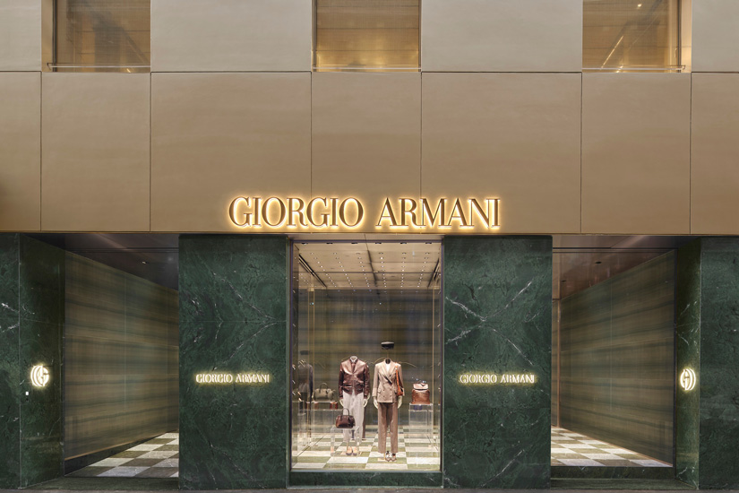 Giorgio Armani flagship store in montenapoleone area and luxury shopping in Milan