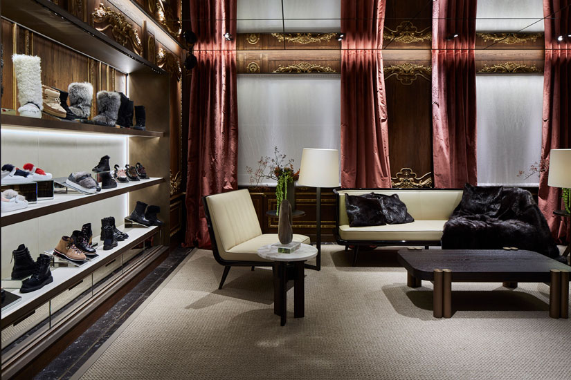 Moncler flagship store and luxury shopping in Milan