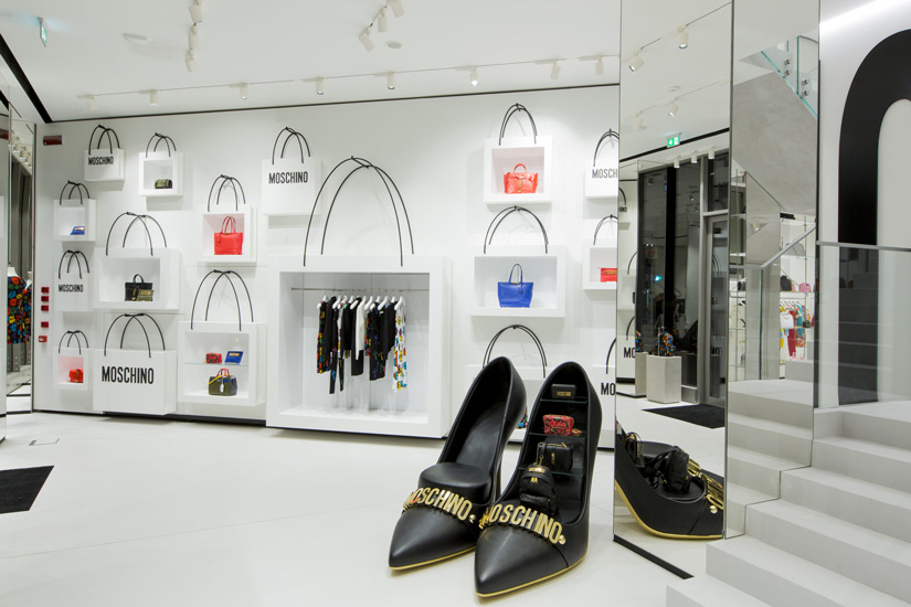 Moschino flagship store and high end shopping in Milan