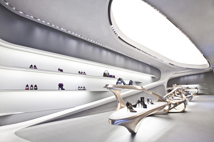 Stuart Weitzman flagship store designed by Zaha Hadid and luxury shopping in Milan