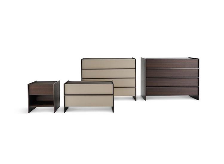 Designer drawer units and Italian bedroom design composition