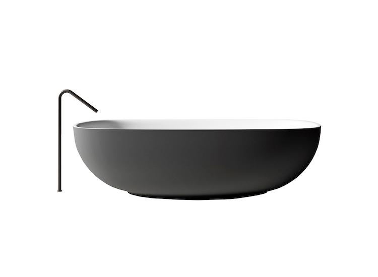 Designer bathtubs and Italian bathroom design composition