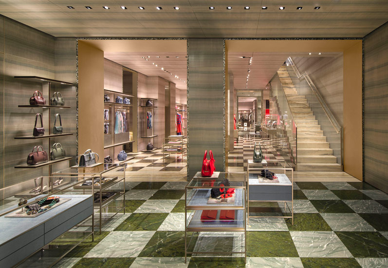 Giorgio Armani flagship store interior design and high-end shopping in Milan
